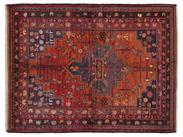 "5'7"" x 7'3"" Persian Rug, Orange/Blue"