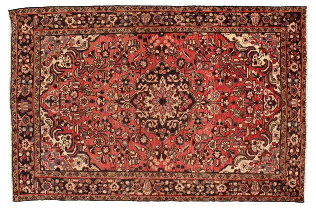 "4'8"" x 7'3"" Persian Rug, Red/Ivory"