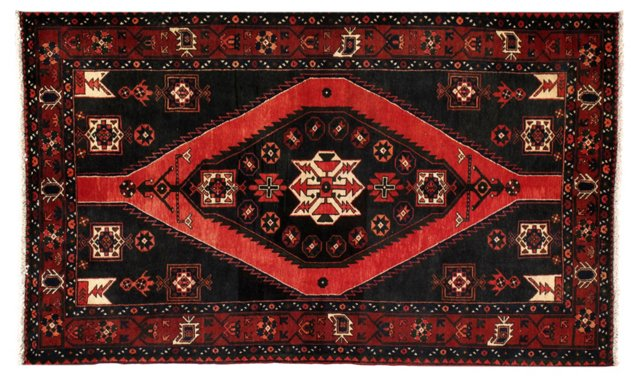 "4'7"" x 7'4"" Persian Rug, Red/Black/Ivory"