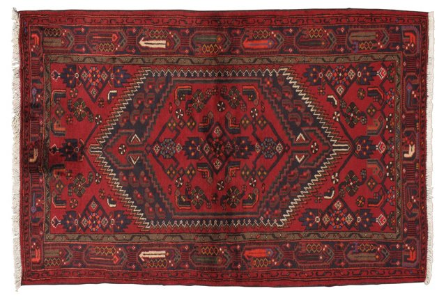 """4'6"""" x 6'6"""" Persian Rug, Brown/Blue/Red"""