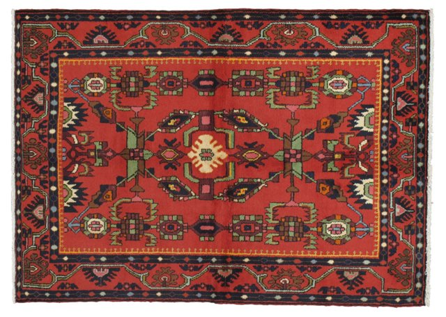"""4'6"""" x 6'3"""" Persian Rug, Red/Green/Navy"""
