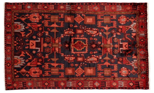 """4'8"""" x 7'5"""" Persian Rug, Blue/Red"""