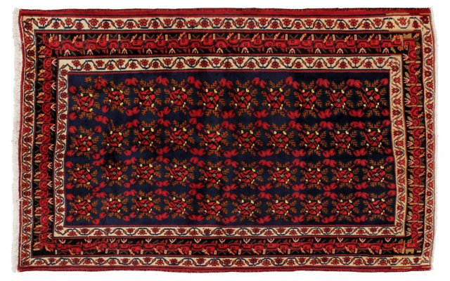 """4'11"""" x 6'5"""" Persian Rug, Red/Navy/Ivory"""