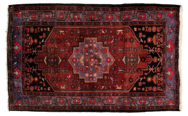 "4'1"" x 6'7"" Persian Rug, Blue/Red/Purple"