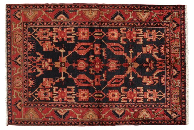 """4'5"""" x 6'6"""" Persian Rug, Red/Blue/Ivory"""