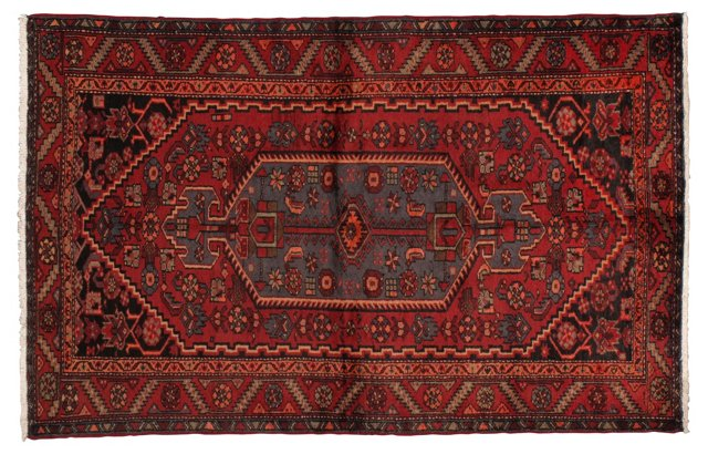 """4'3"""" x 6'8"""" Persian Rug, Blue/Ivory/Red"""