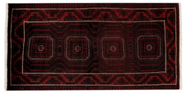 "3'9"" x 7'3"" Persian Rug, Black/Ivory/Red"