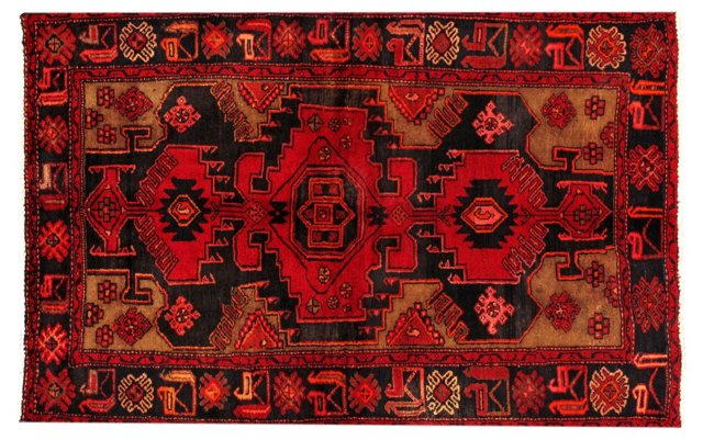 "4'3""x6'5"" Persian Rug, Black/Orange/Red"