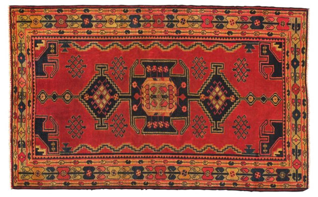 "4'5""x7'1"" Persian Rug, Black/Yellow/Red"