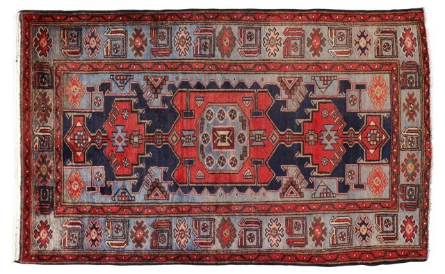 "4'2"" x 6'7"" Persian Rug, Gray/Blue/Red"