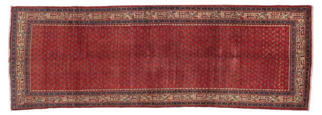 "3'6""x10'1"" Persian Runner, Blue/Ivory/Red"