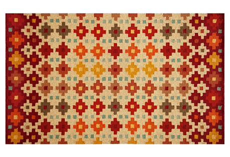 Adam Outdoor Rug, Beige/Red
