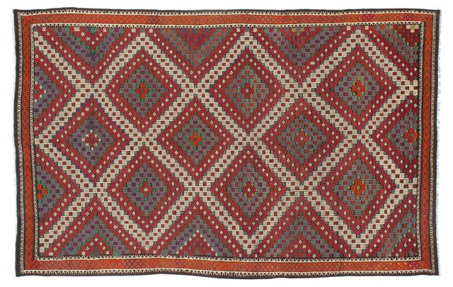 "6'3""x11' Turkish Kilim, Red/Green"