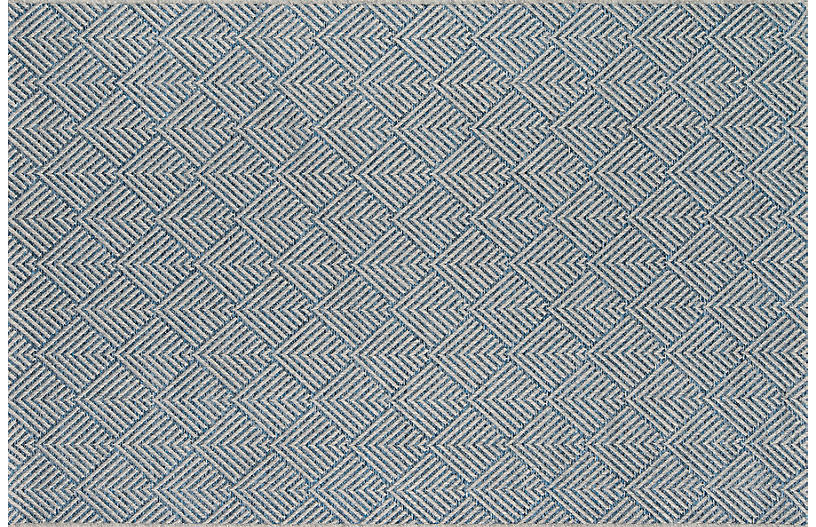 Junic Outdoor Rug, Blue/White