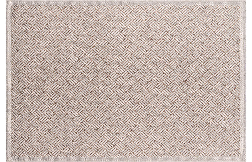 Rempili Outdoor Rug, Tan/White