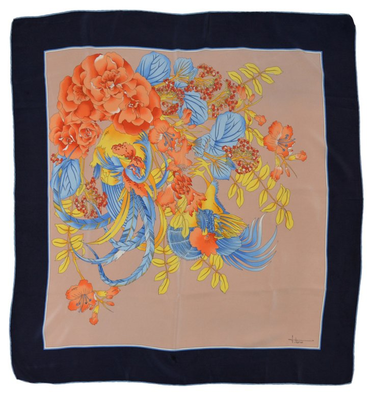 Japanese Floral Silk Scarf