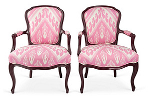 French Pink Ikat Chairs, Pair
