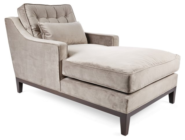 Alva Velvet Chaise, Dove