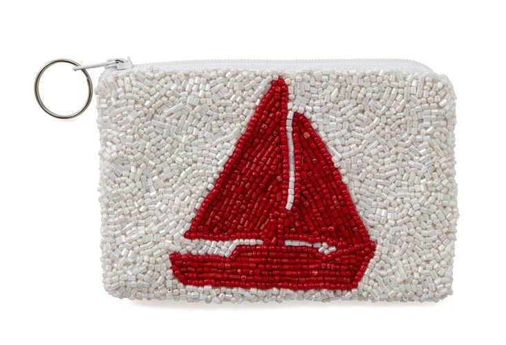 Red Sailboat Beaded Zipper Pouch, Small