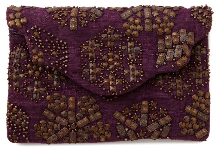 Copper Studded Envelope Pouch, Merlot