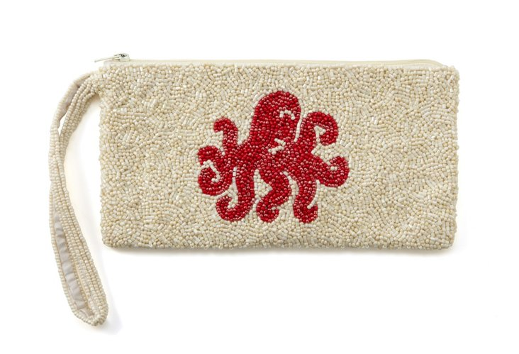 Octopus Beaded Zipper Pouch, Large