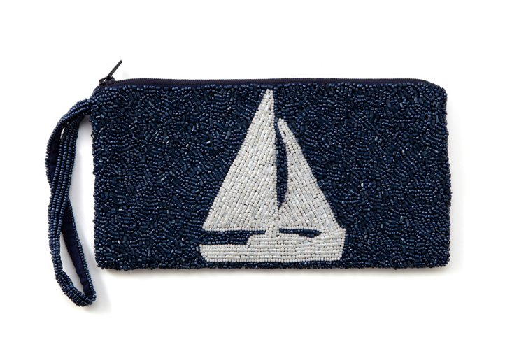 Sailboat Beaded Zipper Pouch, Large