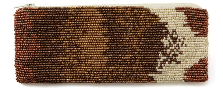 Brown Multicolor Beaded Pencil Pouch