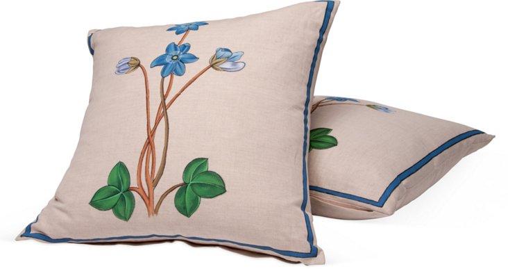 Botanical Print Toss Pillows, Pair II