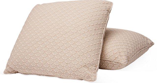 Geometric Beige Toss Pillows, Pair