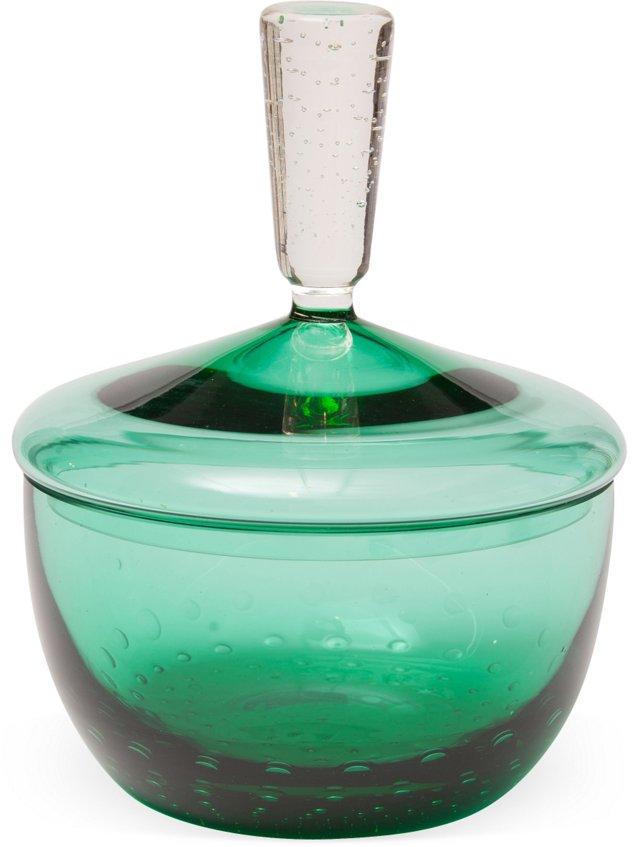 Emerald-Colored Glass Dish