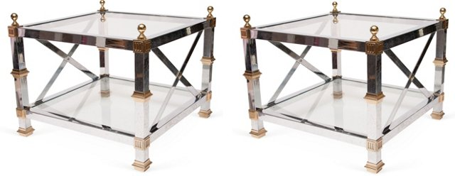 Steel & Brass Side Tables, Pair