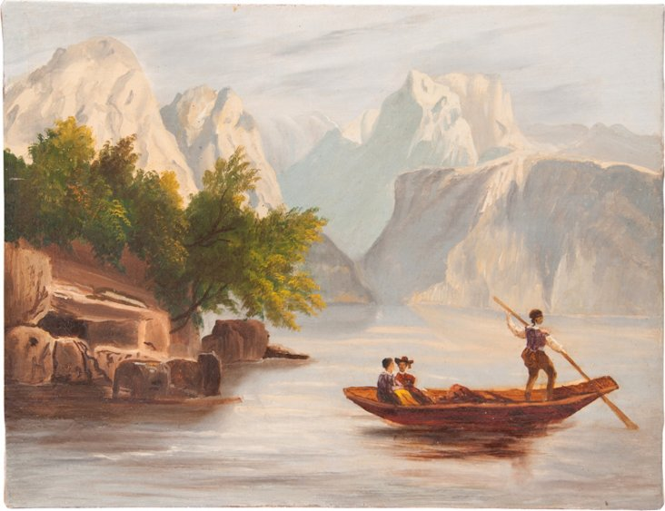 Painting, Figures in a Boat on a Lake