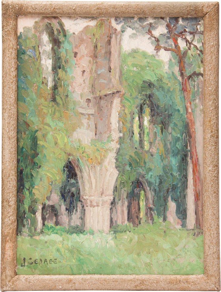 Oil Painting, Ruins Near Rouen, France