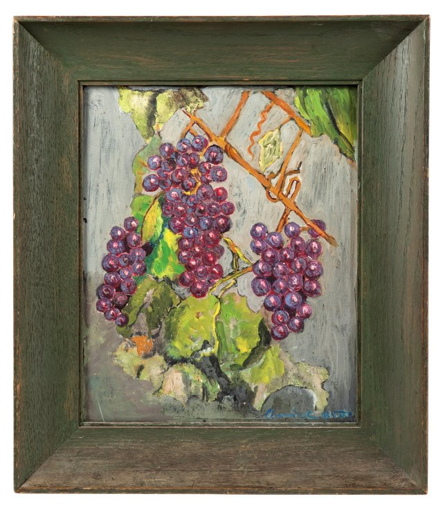 Oil Painting, Grapes on Vine