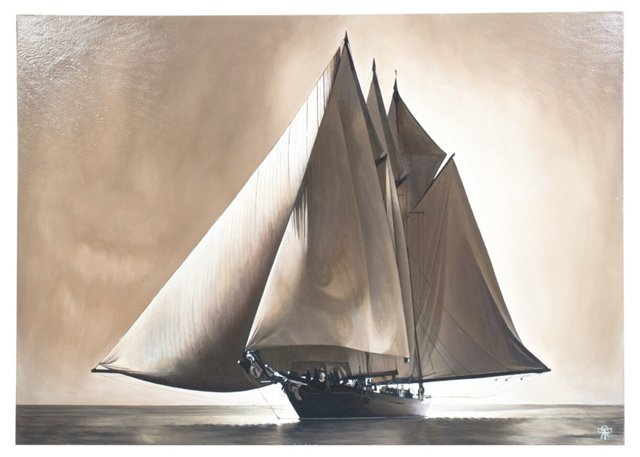 French Oil Painting, Sailboat