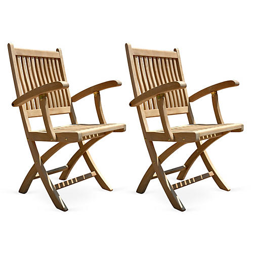 Teak Folding Chairs, Pair
