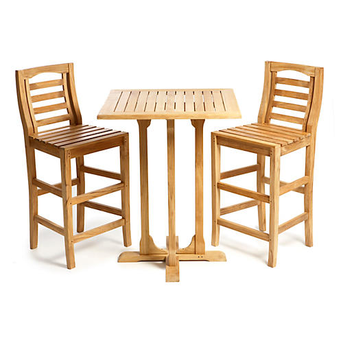 Teak Bar Table & Chairs Set