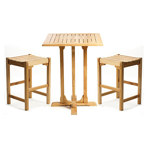 Teak Bar Table & Stools Set