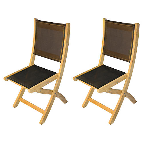 Black Teak Providence Chairs, Pair
