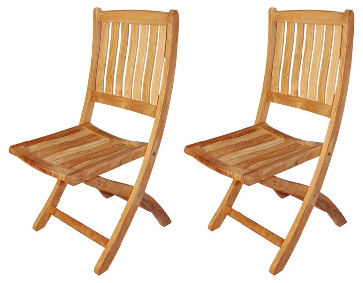 Teak Armless Chairs, Pair
