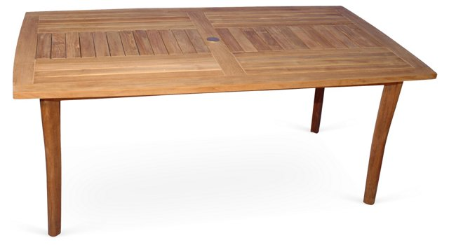 "DNU, Dup 69"" Teak Rectangular Table"