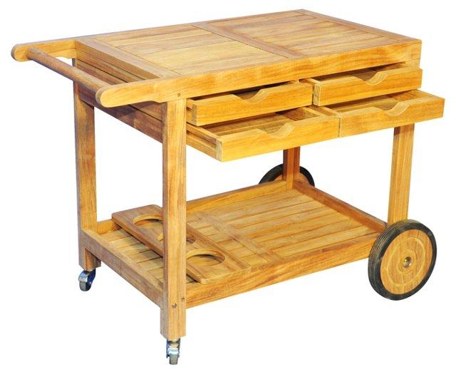 Hampton Outdoor Bar Cart, Natural