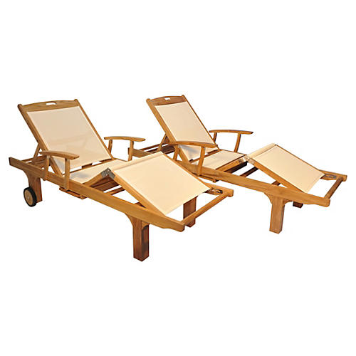Cream Aiken Loungers, Pair