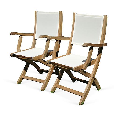 White Barfield Armchairs, Pair