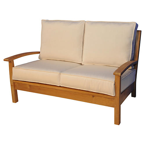 "Teak 52"" Loveseat, Canvas"