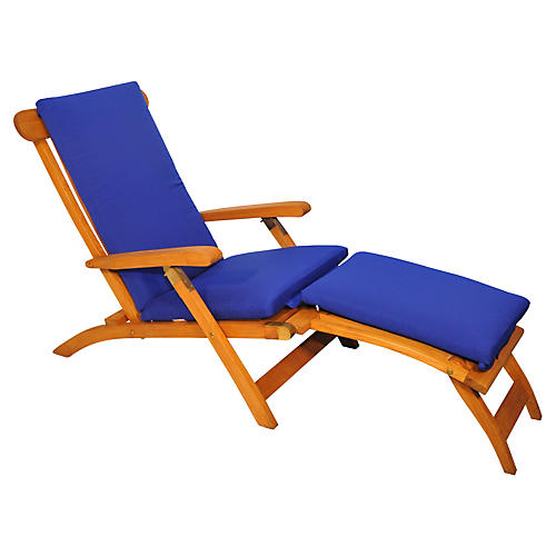 Devon Steamer Chair, Royal Blue