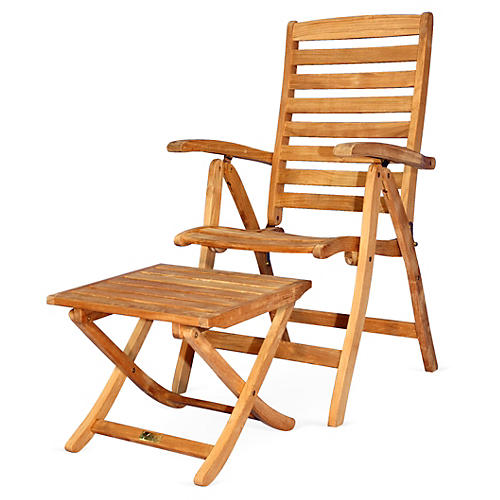Teak Recliner w/ Footstool, Natural