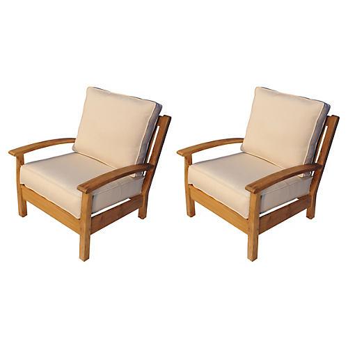 Canvas Deep-Seating Club Chairs, Pair