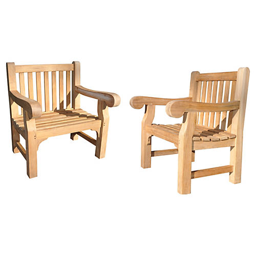 Natural Teak Aspen Chairs, Pair