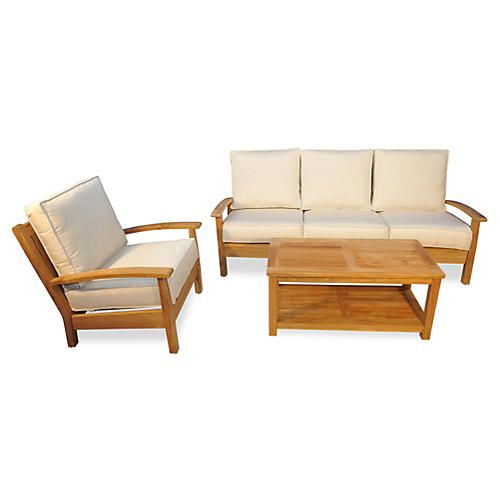 Mil Teak Conversation Set, Off-White